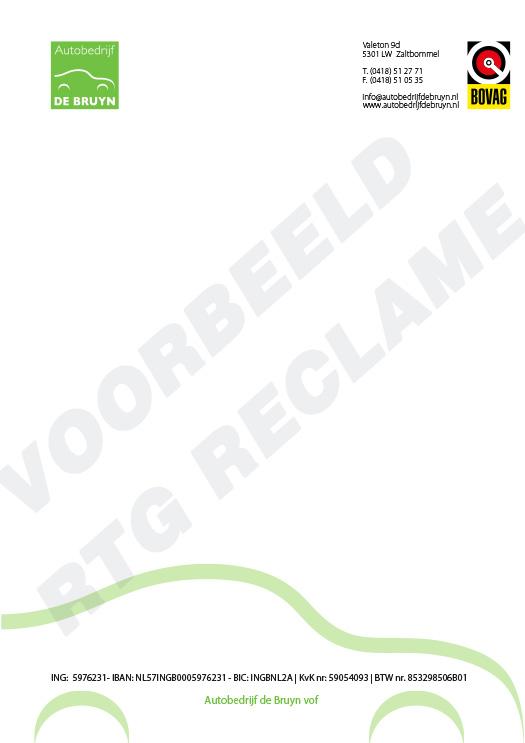 Zoek je voorbeelden van briefpapier. Hier laten we je enkele voorbeelden zien van briefpapier. Ontwerp en druk door RTG Reclame in Culemborg.