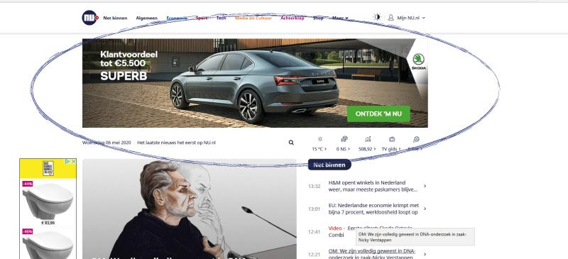 Online Adverteren of AD.NL - NU.NL of TELEGRAAF.NL en andere grote platforms